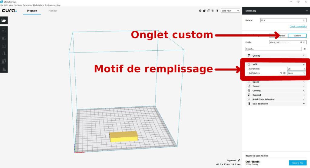 Cura motif remplissage Fabrication designer fabrication créatif Prototype prototypage Paris ingénieur mécanique développement Paris projet impression 3d cooprint