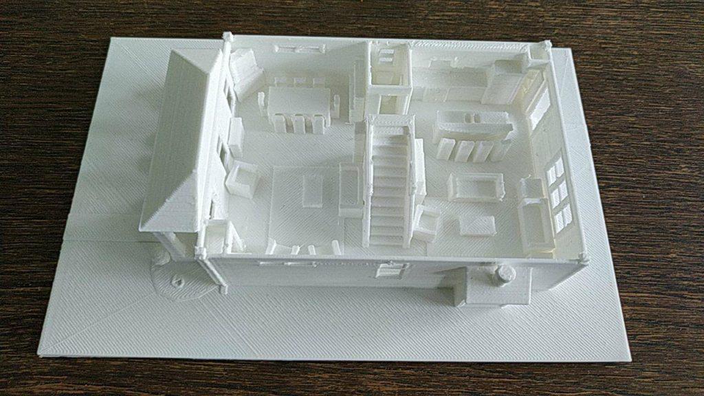 Maquette de présentation d'un projet d'architecture, imprimée en 3D.